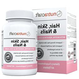 #1 Hair, Skin & Nails Supplement with 5000mcg of Biotin, Ker